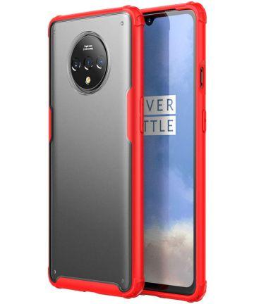 OnePlus 7T Slim Fit Hybride Hoesje Transparant/Rood Hoesjes