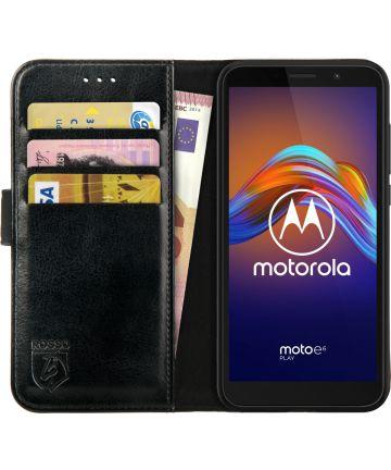 Rosso Element Motorola Moto E6 Play Hoesje Book Cover Zwart Hoesjes