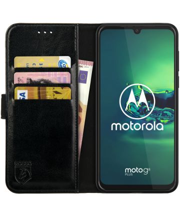 Rosso Element Motorola Moto G8 Plus Hoesje Book Cover Zwart