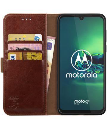 Rosso Element Motorola Moto G8 Plus Hoesje Book Cover Bruin Hoesjes