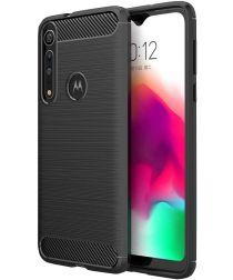 Motorola Moto G8 Plus Geborsteld TPU Hoesje Zwart
