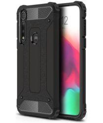 Motorola Moto G8 Plus Hybride Hoesje Zwart