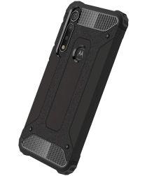 Motorola One Macro Hybride Hoesje Zwart
