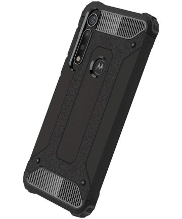 Motorola One Macro Hybride Hoesje Zwart Hoesjes