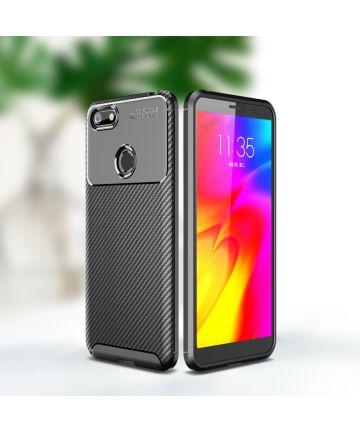 Motorola Moto E6 Play Siliconen Carbon Hoesje Zwart Hoesjes