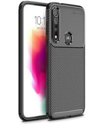 Motorola Moto G8 Plus Siliconen Carbon Hoesje Zwart