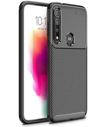 Motorola Moto G8 Plus Siliconen Carbon Hoesje Zwart Hoesjes