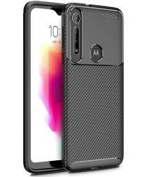 Motorola One Macro Siliconen Carbon Hoesje Zwart