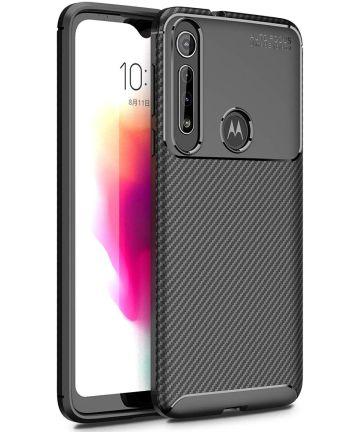 Motorola One Macro Siliconen Carbon Hoesje Zwart Hoesjes
