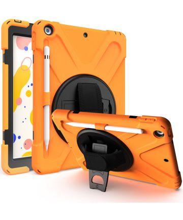 Apple iPad 10.2 2019 / 2020 Hoesje met Verstelbare Handriem Oranje Hoesjes