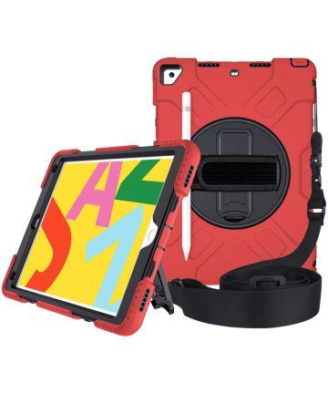 Apple iPad 10.2 2019 / 2020 Hybride Hoesje met Handriem Rood Hoesjes