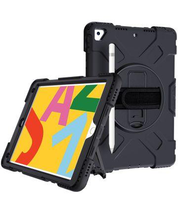 Apple iPad 10.2 2019 / 2020 / 2021 Hybride Hoesje met Handriem Zwart Hoesjes