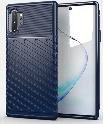 Samsung Galaxy Note 10 Plus Twill Texture Hoesje Blauw Hoesjes