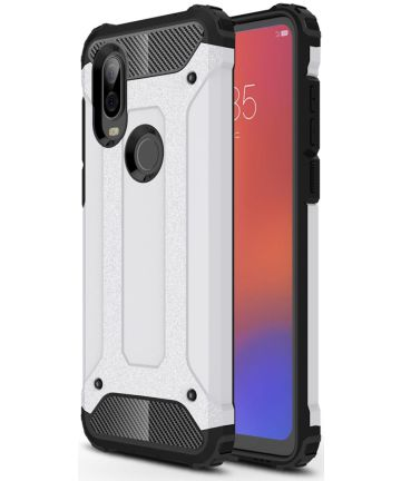 Motorola Moto P40 Action Schokbestendig Hybride Hoesje Wit Hoesjes