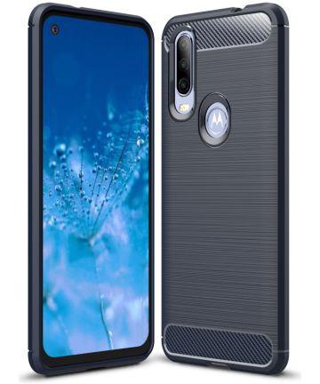 Motorola One Action Geborsteld TPU Hoesje Blauw Hoesjes