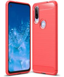 Motorola One Action Geborsteld TPU Hoesje Rood