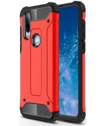 Motorola One Action Schokbestendig Hybride Hoesje Rood