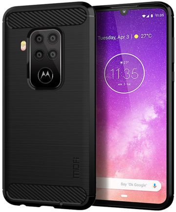 Motorola One Zoom Geborsteld TPU Hoesje Zwart Hoesjes