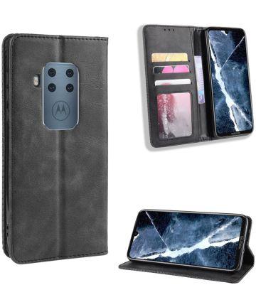 Motorola One Zoom Vintage Portemonnee Hoesje zwart Hoesjes