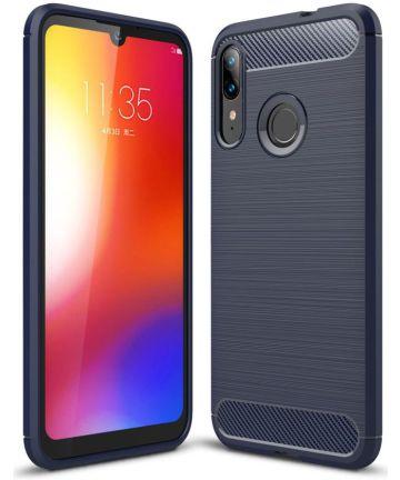 Motorola Moto E6s / E6 Plus Geborsteld TPU Hoesje Blauw Hoesjes