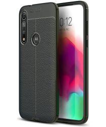 Motorola Moto G8 Plus Hoesje TPU Met Leren Textuur Zwart