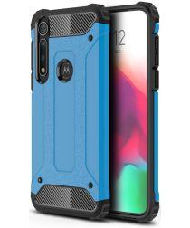 Motorola Moto G8 Plus Hybride Hoesje Blauw