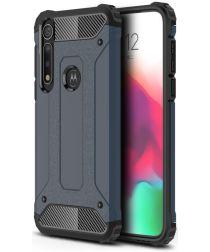 Motorola Moto G8 Plus Hybride Hoesje Donker Blauw