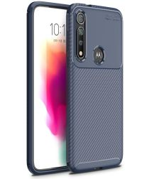 Motorola Moto G8 Plus Siliconen Carbon Hoesje Blauw