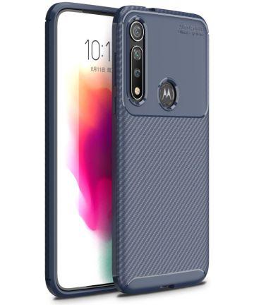 Motorola Moto G8 Plus Siliconen Carbon Hoesje Blauw Hoesjes