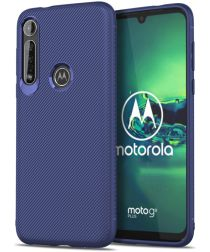 Motorola Moto G8 Plus Twill Slim Texture Back Cover Blauw
