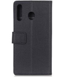Motorola One Macro Lychee Portemonnee Hoesje met Standaard Zwart