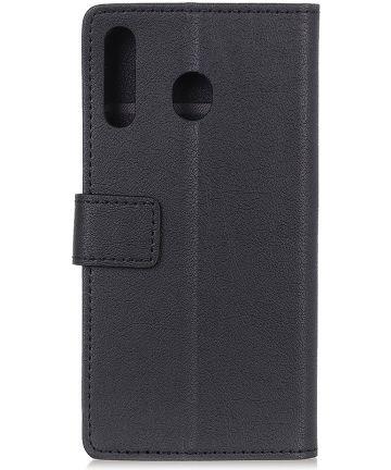Motorola One Macro Lychee Portemonnee Hoesje met Standaard Zwart Hoesjes
