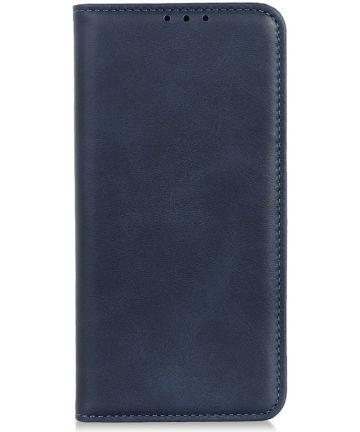 Motorola One Macro Splitleren Portemonnee Hoesje Donker Blauw Hoesjes