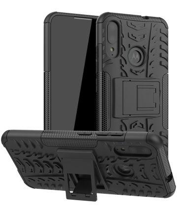 Motorola Moto E6s / E6I / E6 Plus Robuust Hybride Hoesje Zwart Hoesjes
