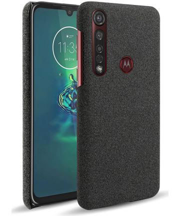 Motorola Moto G8 Plus Stof Hard Back Cover Zwart Hoesjes