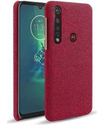 Motorola Moto G8 Plus Stof Hard Back Cover Rood