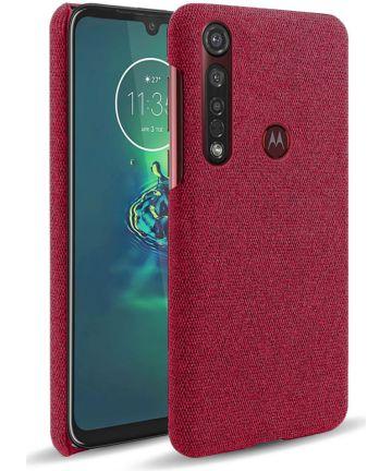 Motorola Moto G8 Plus Stof Hard Back Cover Rood Hoesjes