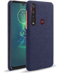 Motorola Moto G8 Plus Stof Hard Back Cover Blauw