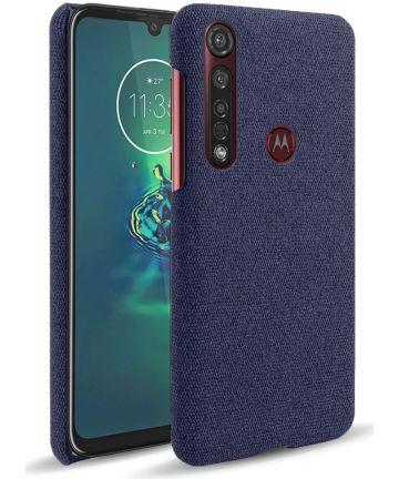 Motorola Moto G8 Plus Stof Hard Back Cover Blauw Hoesjes