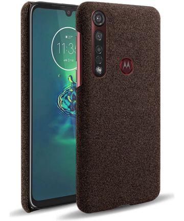 Motorola Moto G8 Plus Stof Hard Back Cover Coffee Hoesjes