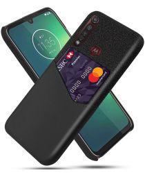 Motorola Moto G8 Plus Kunstleer en Stof Hoesje met Kaarthouder Zwart