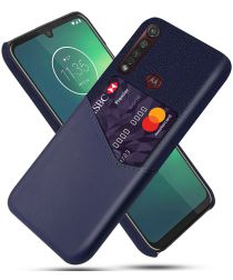 Motorola Moto G8 Plus Kunstleer en Stof Hoesje met Kaarthouder Blauw
