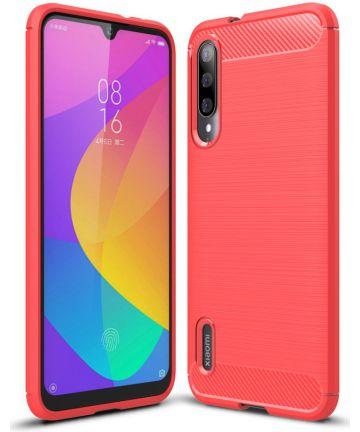 Xiaomi Mi A3 Geborsteld TPU Hoesje Rood Hoesjes