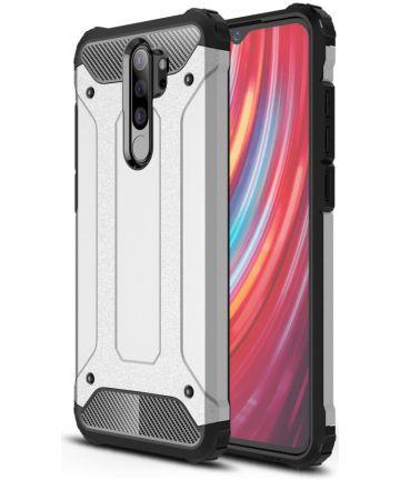 Xiaomi Redmi Note 8 Pro Armor Guard Hybrid Case Zilver Hoesjes
