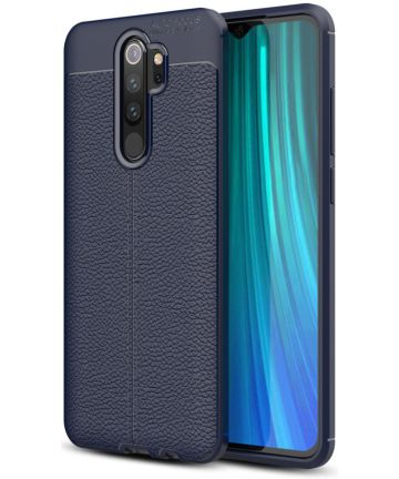 Redmi Note 8 Pro Litchi Kunstleren Textuur TPU Hoesje Blauw Hoesjes