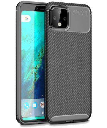 Google Pixel 4 XL Siliconen Carbon Hoesje Zwart Hoesjes