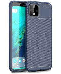 Google Pixel 4 XL Siliconen Carbon Hoesje Blauw