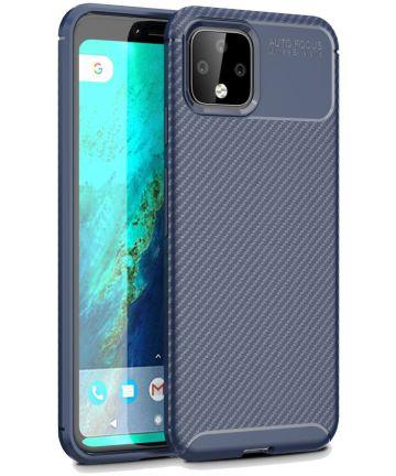 Google Pixel 4 XL Siliconen Carbon Hoesje Blauw Hoesjes