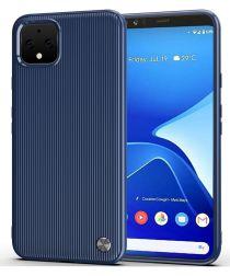 Google Pixel 4 XL Strepen Textuur TPU Hoesje Blauw