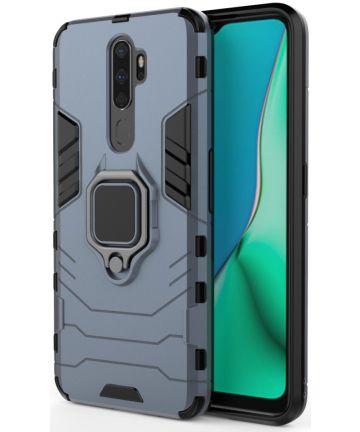 Oppo A5 / A9 (2020) Hybride Hoesje met Kickstand Ring Blauw Hoesjes
